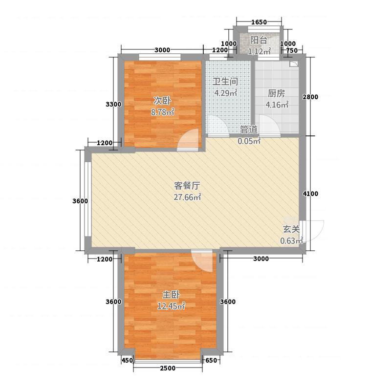 华太财富广场264.20㎡2#―6#楼A户型2室2厅1卫1厨