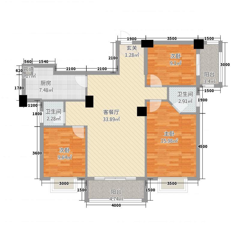 阳光名邸135114.72㎡1、3、5号楼B户型3室2厅2卫1厨