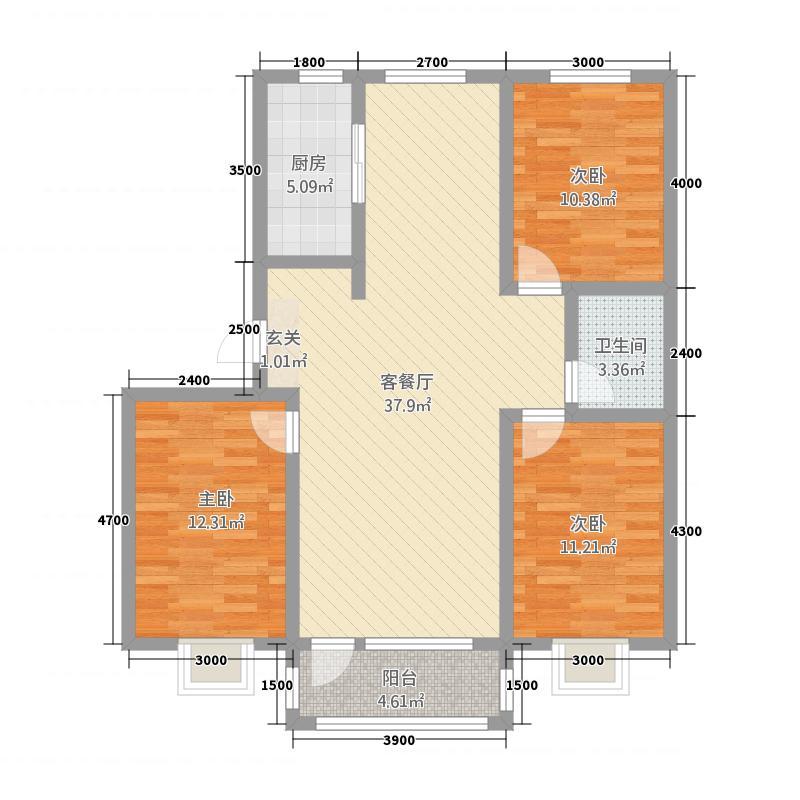 盛世新城132121.81㎡hx户型3室2厅1卫