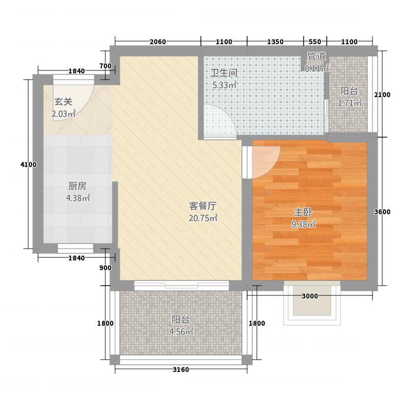 王府花园53.33㎡二期园景公寓B户型1室2厅1卫1厨