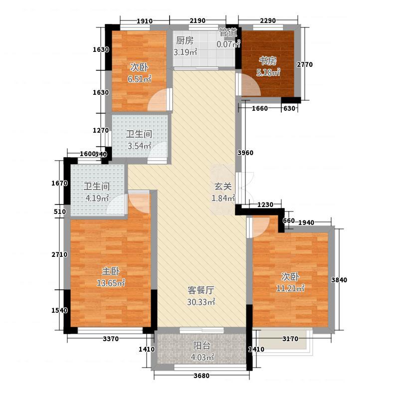 华章・御树湾1118.20㎡1#C户型3室3厅3卫1厨