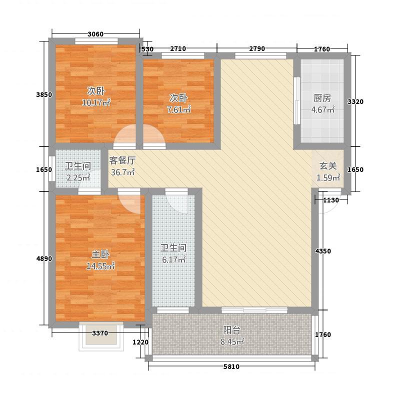 丰乐佳苑131.00㎡7#户型3室2厅2卫1厨