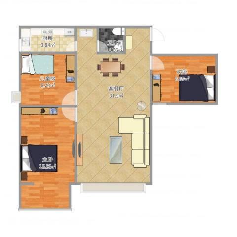 谈固国瑞城3室1厅1卫1厨95.00㎡户型图