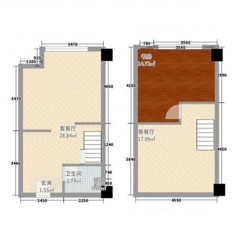 高力摩卡1室2厅1卫0厨64.39㎡户型图