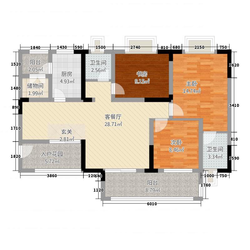 奥兰半岛二期15115.42㎡二期15号楼标准层C2户型3室2厅2卫1厨