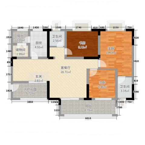奥兰半岛二期3室1厅2卫1厨15115.00㎡户型图
