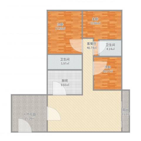 风度国际名苑3室1厅2卫1厨162.00㎡户型图