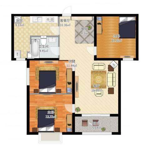 丛台花园3室1厅1卫1厨125.00㎡户型图