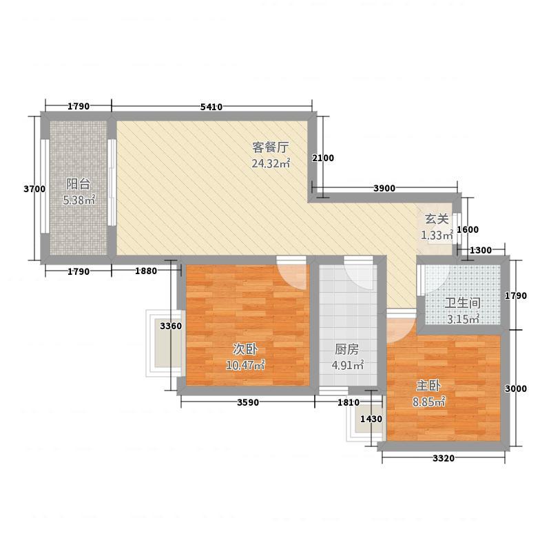澜岸・泊宫578.77㎡C户型2室1厅1卫1厨
