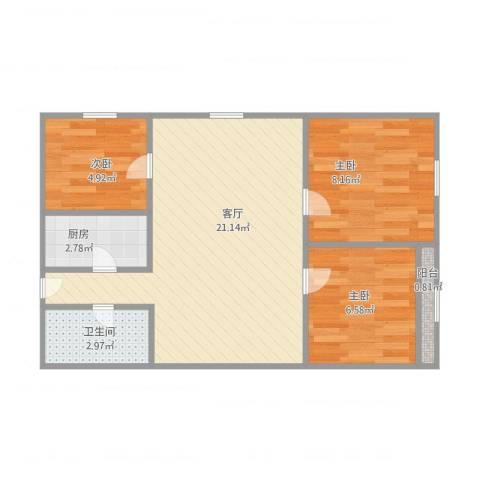 新开路3室1厅1卫1厨65.00㎡户型图