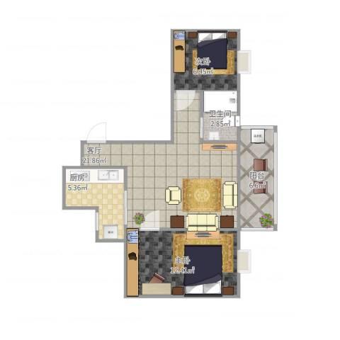 风度国际名苑2室1厅1卫1厨73.00㎡户型图