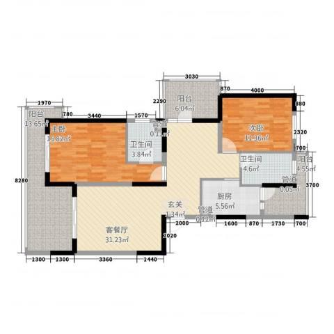 天地华城2室1厅2卫1厨116.00㎡户型图