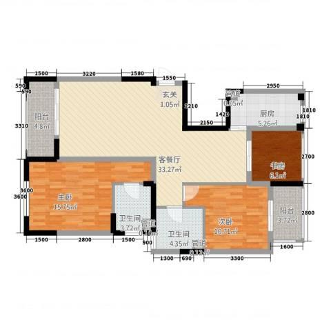 天地华城3室1厅2卫1厨112.00㎡户型图