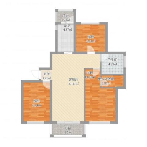 金桥湾清水苑3室1厅1卫1厨115.00㎡户型图