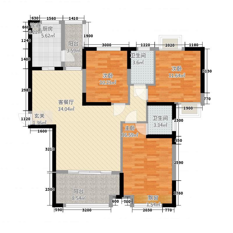 鼎卫豪苑6#楼B5户型3室2厅2卫