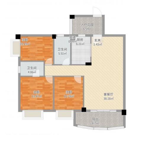 翠湖居3室1厅2卫1厨146.00㎡户型图