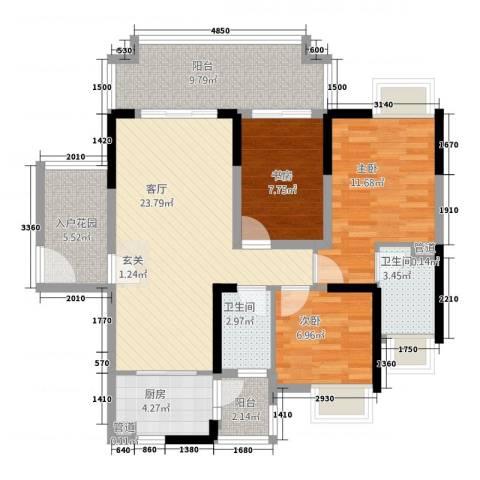 城市假日E区3室1厅2卫1厨115.00㎡户型图