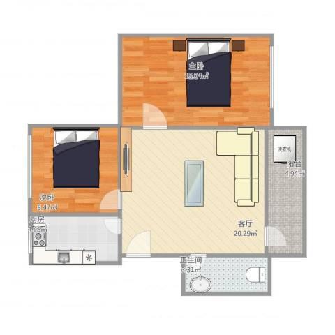棠德花园H区南梯01单位2室1厅1卫1厨76.00㎡户型图