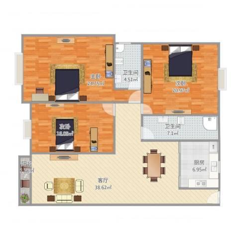 蓝天新苑3室1厅2卫1厨161.00㎡户型图