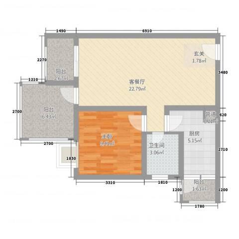恒森・摩登时代1室1厅1卫1厨68.00㎡户型图