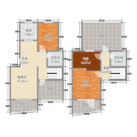 永成时代广场3室1厅2卫1厨186.32㎡户型图