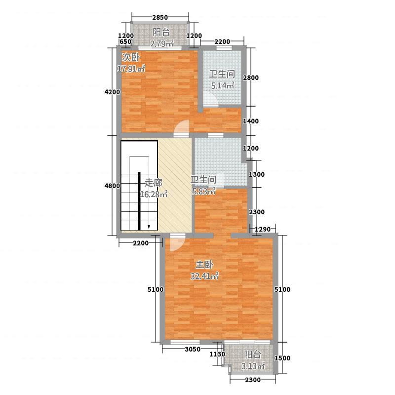 奥伦达部落西郡原著26.87㎡一期洋房B2二层户型5室4厅4卫1厨