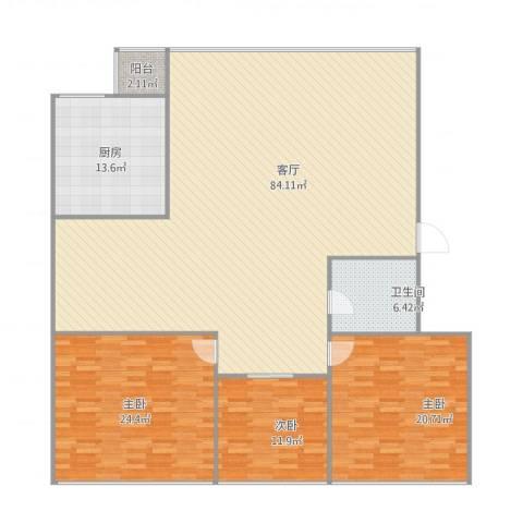 中山南苑3室1厅1卫1厨214.00㎡户型图