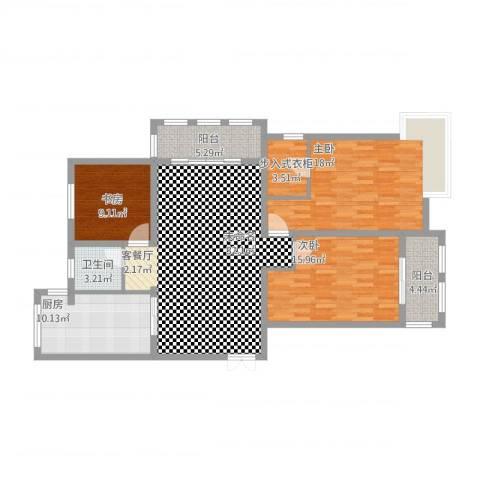 御景豪庭3室1厅1卫1厨148.00㎡户型图