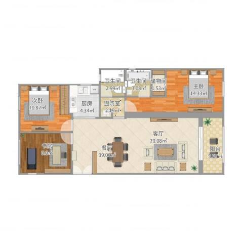 雅戈尔新东城3室2厅2卫1厨122.00㎡户型图