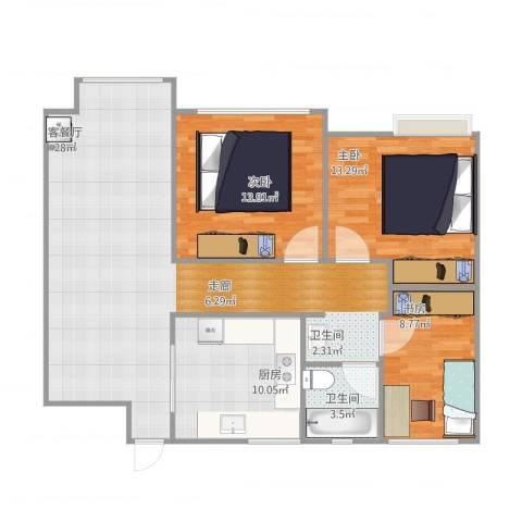 海亮香榭里3室1厅1卫1厨114.00㎡户型图