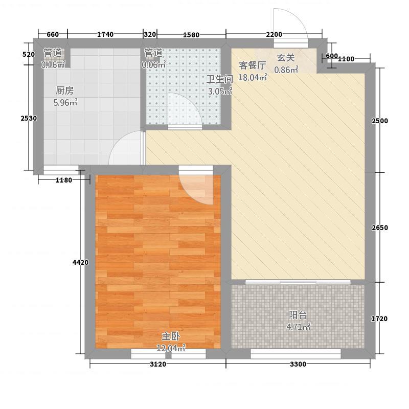 九鼎锦绣城12157.23㎡D户型1室2厅1卫1厨