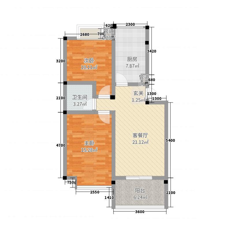 仁信南洋星城1282.23㎡D户型2室2厅1卫1厨