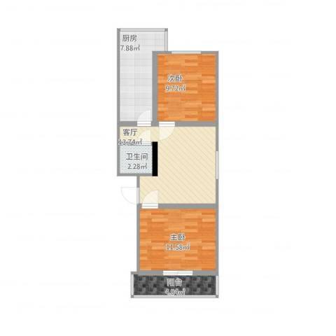 东兴小区2室1厅1卫1厨75.00㎡户型图