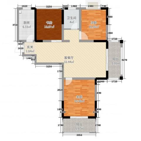 凤凰城3室1厅1卫1厨131.00㎡户型图