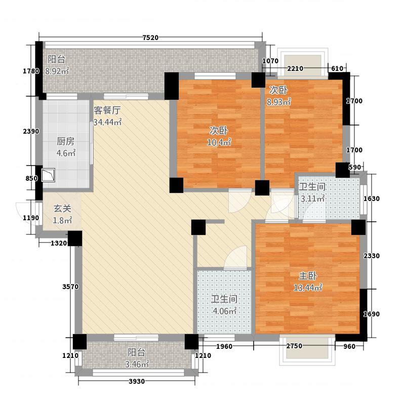 紫金城131.48㎡F型户型3室2厅2卫1厨