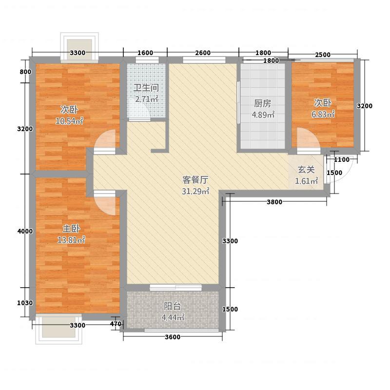 世宏城市广场3.88㎡A户型3室2厅1卫1厨
