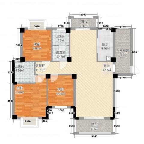 紫金城3室2厅2卫1厨91.24㎡户型图