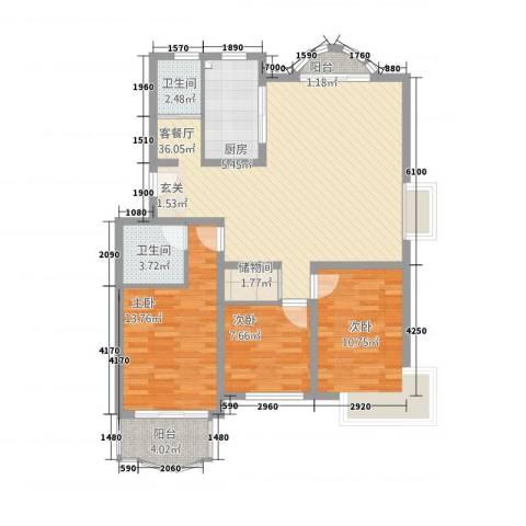 昆阳花园3室1厅2卫1厨124.00㎡户型图