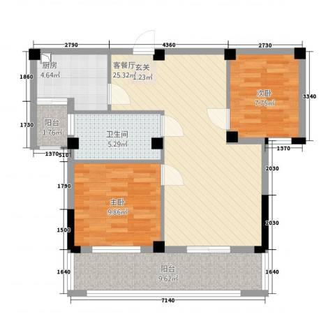 紫金城2室1厅1卫1厨64.24㎡户型图