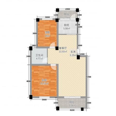 维多利亚花园2室1厅1卫1厨76.38㎡户型图