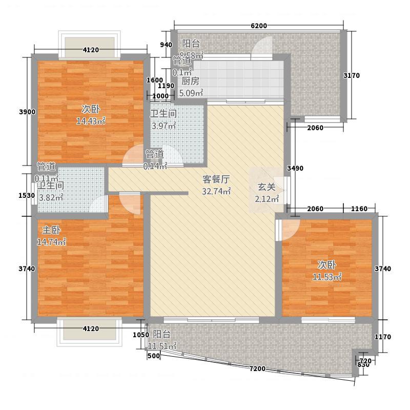 启东香榭水岸152.34㎡户型3室2厅2卫1厨