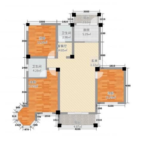 维多利亚花园3室1厅2卫1厨2115.00㎡户型图