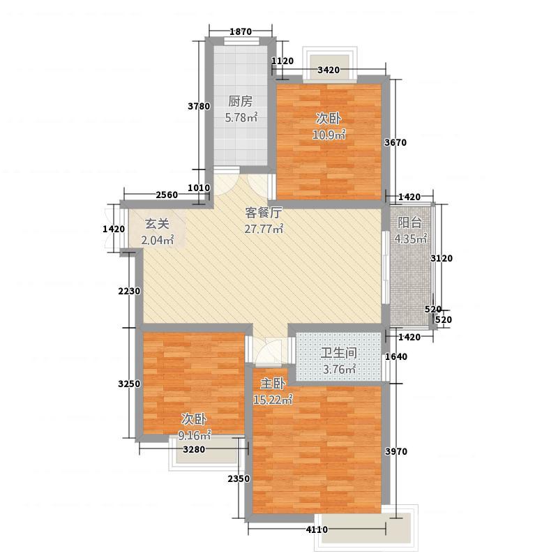 天筑香城11.70㎡G户型3室2厅1卫