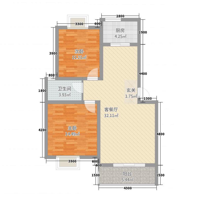 金泰国际22188.42㎡E户型2室2厅1卫