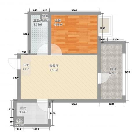 东庄崔家村1室1厅1卫1厨59.00㎡户型图