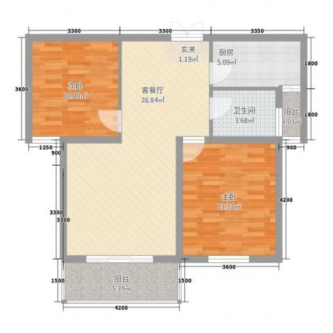 维多利亚花园2室1厅1卫1厨84.00㎡户型图