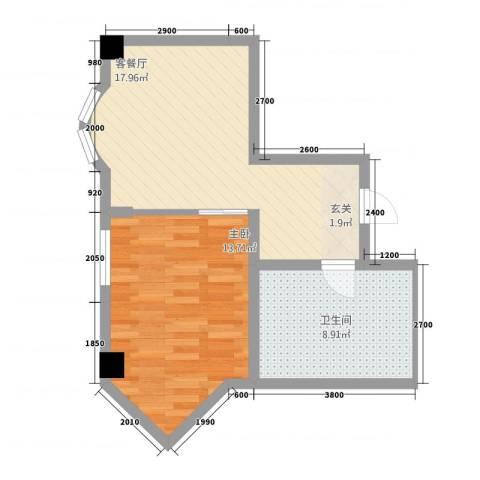 东方云顶1室1厅1卫0厨58.00㎡户型图