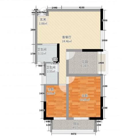 金域城邦2室1厅2卫0厨2276.00㎡户型图