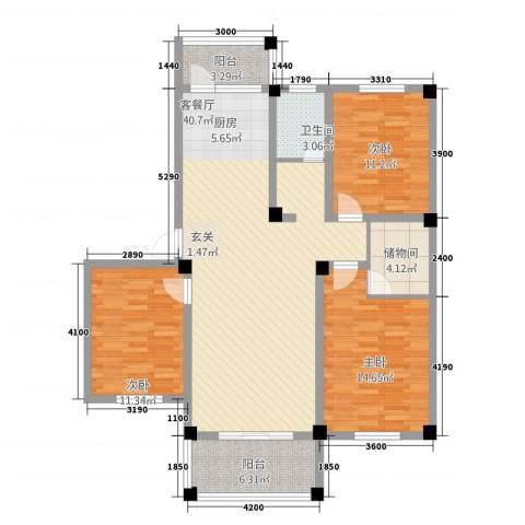 维多利亚花园3室1厅1卫0厨115.00㎡户型图