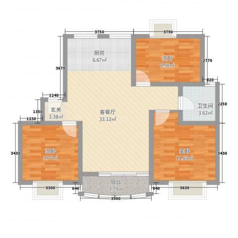 昆阳花园3室1厅1卫0厨102.00㎡户型图
